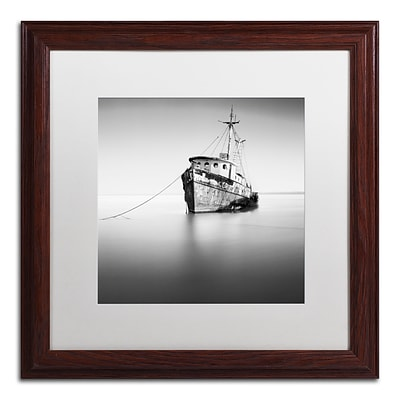 Trademark Fine Art Barco Hundido by Moises Levy 16 x 16 White Matted Wood Frame (ALI1109-W1616MF)