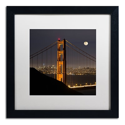 Trademark Fine Art Golden Gate and Moon by Moises Levy 16 x 16 White Matted Black Frame (ALI1110-B1616MF)