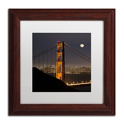 Trademark Fine Art Golden Gate and Moon by Moises Levy 11 x 11 White Matted Wood Frame (ALI1110-W1111MF)
