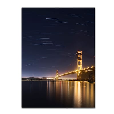 Trademark Fine Art Golden Gate and Stars by Moises Levy 14 x 19 Canvas Art (ALI1111-C1419GG)
