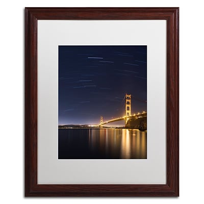 Trademark Fine Art Golden Gate and Stars by Moises Levy 16 x 20 White Matted Wood Frame (ALI1111-W1620MF)