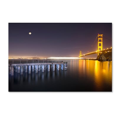 Trademark Fine Art Golden Gate Pier and Stars by Moises Levy 22 x 32 Canvas Art (ALI1113-C2232GG)