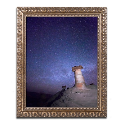 Trademark Fine Art Starry Night in Arizona I by Moises Levy 11 x 14 Ornate Frame (ALI1138-G1114F)