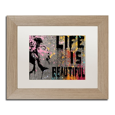 Trademark Fine Art Life is Beautiful by Banksy  11 x 14 White Matted Wood Frame (ALI1236-T1114MF)