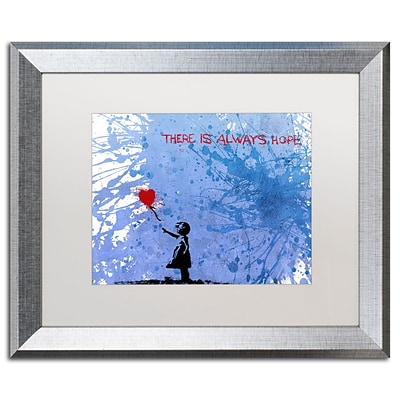 Trademark Fine Art There Is Always Hope by Banksy 16 x 20 White Matted Silver Frame (ALI1237-S1620MF)