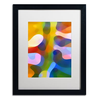 Trademark Fine Art Dappled Light Palm 1 by Amy Vangsgard  16 x 20 White Matted Black Frame (AV0110-B1620MF)