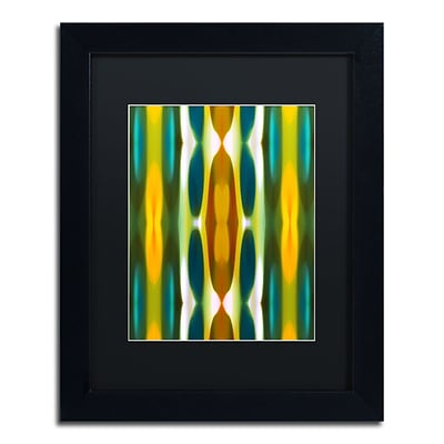 Trademark Fine Art Blue Green Yellow Pattern 14 by Amy Vangsgard  11 x 14 Black Matted Black Frame (AV0119-B1114BMF)