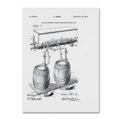 Trademark Fine Art Art Of Brewing Beer Patent White by Claire Doherty 18 x 24 Canvas Art (CDO0009-C1824GG)