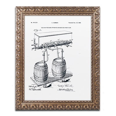 Trademark Fine Art Art Of Brewing Beer Patent White by Claire Doherty 16 x 20 Ornate Frame (CDO0009-G1620F)
