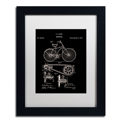 Trademark Fine Art Bicycle Patent 1890 Black by Claire Doherty 11 x 14 White Matted Black Frame (CDO0010-B1114MF)