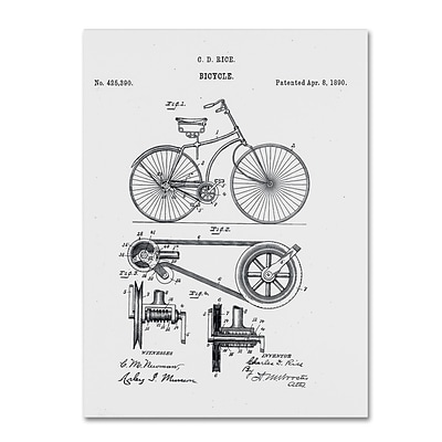 Trademark Fine Art Bicycle Patent 1890 White by Claire Doherty 14 x 19 Canvas Art (CDO0011-C1419GG)