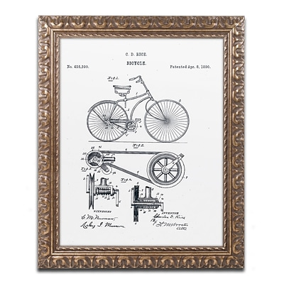 Trademark Fine Art Bicycle Patent 1890 White by Claire Doherty 16 x 20 Ornate Frame (CDO0011-G1620F)