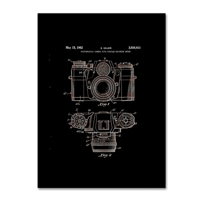 Trademark Fine Art Photographic Camera Patent 1962 Black by Claire Doherty 18 x 24 Canvas Art (CDO0014-C1824GG)