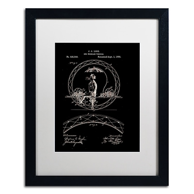 Trademark Fine Art One Wheeled Vehicle 1885 Black by Claire Doherty 16 x 20 White Matted Black Frame (CDO0031-B1620MF)