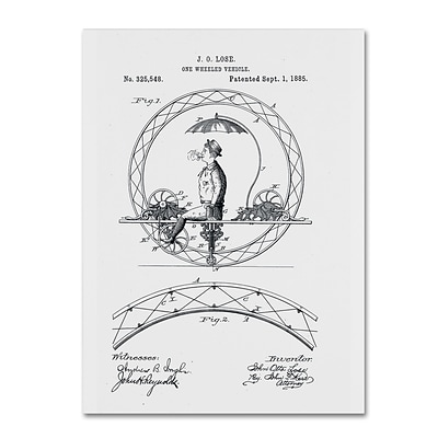 Trademark Fine Art One Wheeled Vehicle Patent 1885 White by Claire Doherty 14 x 19 Canvas Art (CDO0032-C1419GG)