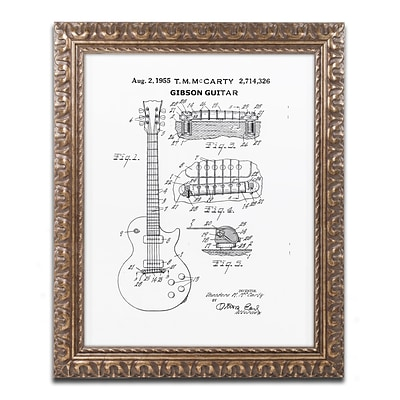 Trademark Fine Art 1955 Mccarty Gibson Guitar White by Claire Doherty 16 x 20 Ornate Frame (CDO0069-G1620F)