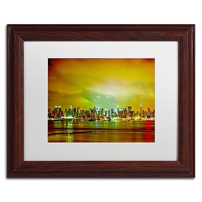 Trademark Fine Art City Skyline by Preston 11 x 14 White Matted Wood Frame (EM0508-W1114MF)