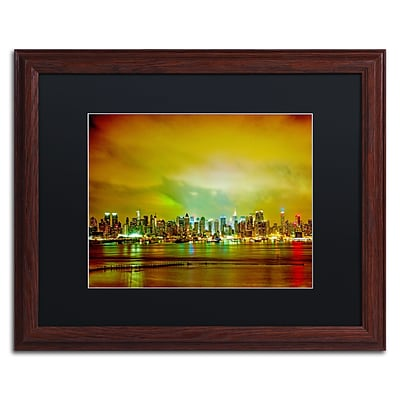 Trademark Fine Art City Skyline by Preston 16 x 20 Black Matted Wood Frame (EM0508-W1620BMF)