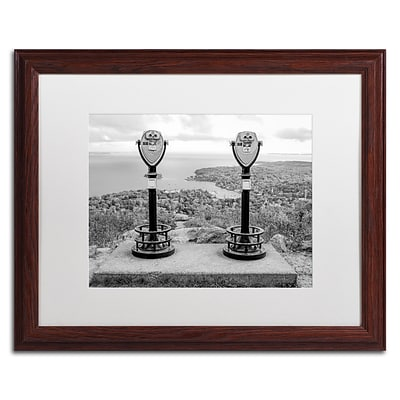 Trademark Fine Art Tower Viewers BW by Preston 16 x 20 White Matted Wood Frame (EM0510-W1620MF)