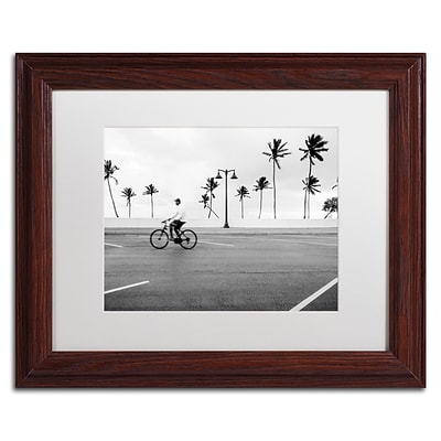Trademark Fine Art Florida Beach Bike by Preston 11 x 14 White Matted Wood Frame (EM0515-W1114MF)
