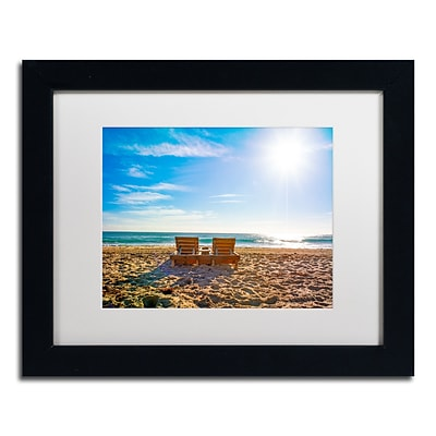 Trademark Fine Art Florida Beach Chair by Preston 11 x 14 White Matted Black Frame (EM0517-B1114MF)