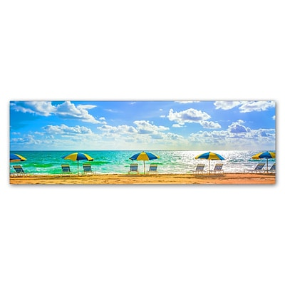 Trademark Fine Art Florida Beach Chairs Umbrellas by Preston 8 x 24 Canvas Art (EM0519-C824GG)