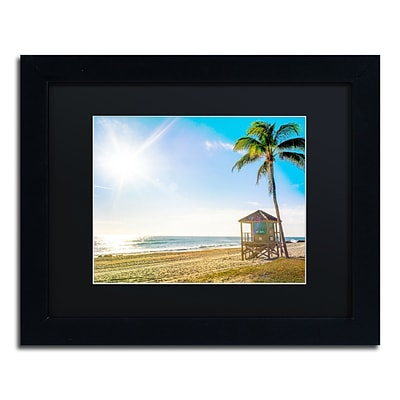 Trademark Fine Art Florida Beach Palm by Preston 11 x 14 Black Matted Black Frame (EM0521-B1114BMF)