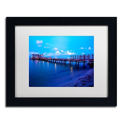 Trademark Fine Art Florida Pier by Preston 11 x 14 White Matted Black Frame (EM0527-B1114MF)