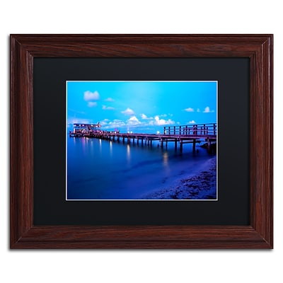 Trademark Fine Art Florida Pier by Preston 11 x 14 Black Matted Wood Frame (EM0527-W1114BMF)