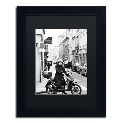 Trademark Fine Art Lady in Paris by Preston 11 x 14 Black Matted Black Frame (EM0540-B1114BMF)