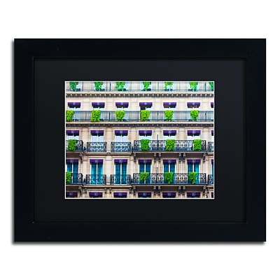 Trademark Fine Art Parisian Apartments by Preston 11 x 14 Black Matted Black Frame (EM0555-B1114BMF)