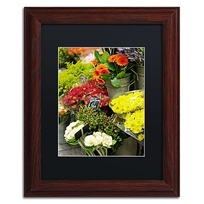 Trademark Fine Art Parisian Flowers by Preston 11 x 14 Black Matted Wood Frame (EM0558-W1114BMF)