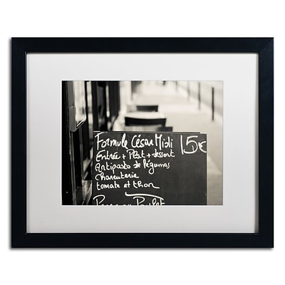 Trademark Fine Art Parisian Menu by Preston 16 x 20 White Matted Black Frame (EM0561-B1620MF)