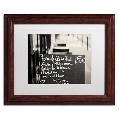 Trademark Fine Art Parisian Menu by Preston 11 x 14 White Matted Wood Frame (EM0561-W1114MF)