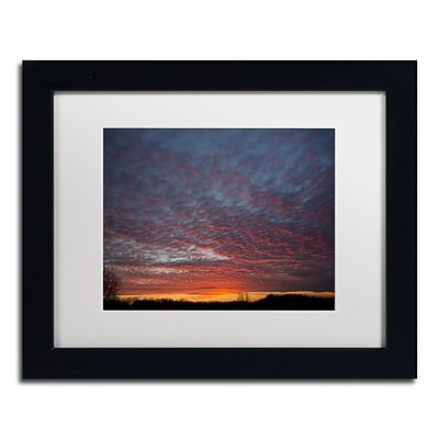 Trademark Fine Art Amazing Winter Sunset by Kurt Shaffer 11 x 14 White Matted Black Frame (KS01063-B1114MF)