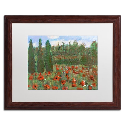 Trademark Fine Art Red Poppies in the Wood by Manor Shadian 16 x 20 White Matted Wood Frame (MA0624-W1620MF)