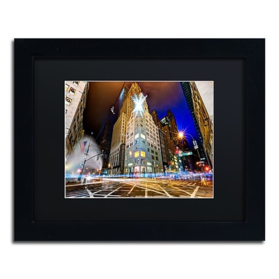 Trademark Fine Art Christmas in New York by David Ayash 11 x 14 Black Matted Black Frame (MA0630-B1114BMF)