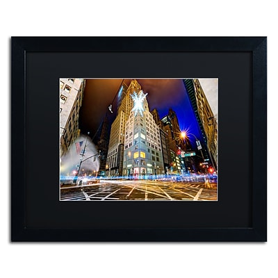 Trademark Fine Art Christmas in New York by David Ayash 16 x 20 Black Matted Black Frame (MA0630-B1620BMF)