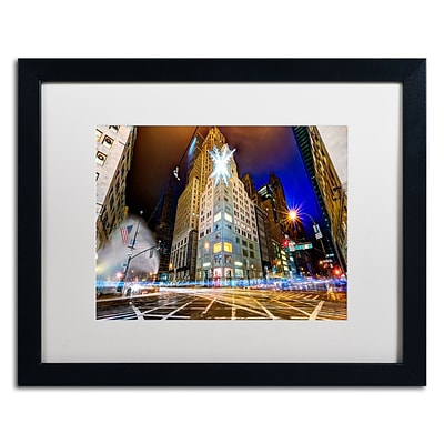 Trademark Fine Art Christmas in New York by David Ayash 16 x 20 White Matted Black Frame (MA0630-B1620MF)