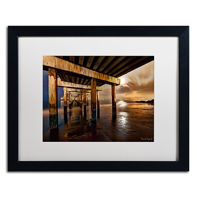 Trademark Fine Art Coney Island Pier by Moonlight by David Ayash 16 x 20 White Matted Black Frame (MA0631-B1620MF)