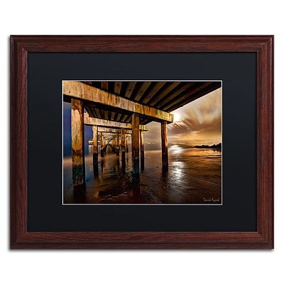Trademark Fine Art Coney Island Pier by Moonlight by David Ayash 16 x 20 Black Matted Wood Frame (MA0631-W1620BMF)