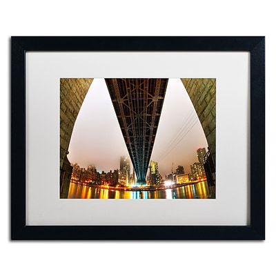 Trademark Fine Art Under the Qeensboro Bridge by David Ayash 16 x 20 White Matted Black Frame (MA0633-B1620MF)