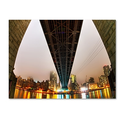 Trademark Fine Art Under the Qeensboro Bridge by David Ayash 24 x 32 Canvas Art (MA0633-C2432GG)