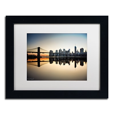 Trademark Fine Art Downtown NY by David Ayash 11 x 14 White Matted Black Frame (MA0636-B1114MF)