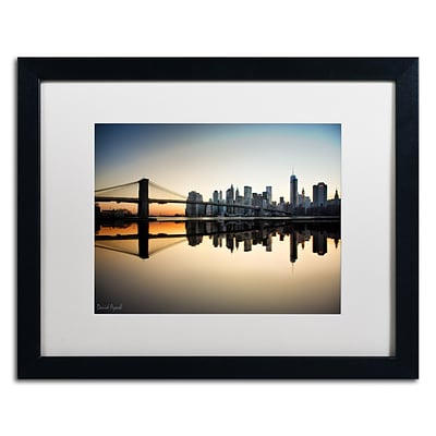 Trademark Fine Art Downtown NY by David Ayash 16 x 20 White Matted Black Frame (MA0636-B1620MF)