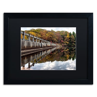 Trademark Fine Art New York in Fall by David Ayash 16 x 20 Black Matted Black Frame (MA0644-B1620BMF)