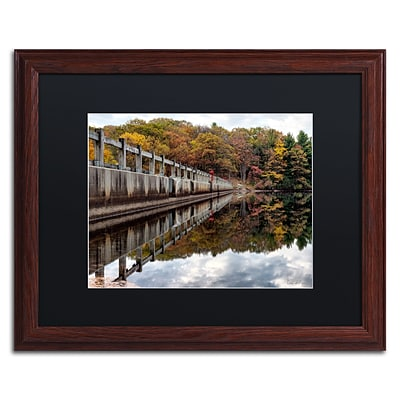 Trademark Fine Art New York in Fall by David Ayash 16 x 20 Black Matted Wood Frame (MA0644-W1620BMF)