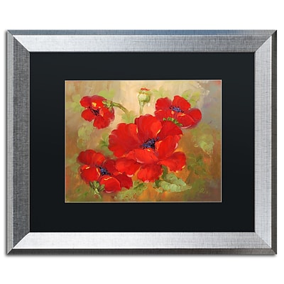 Trademark Fine Art Poppies by Rio 16 x 20 Black Matted Silver Frame (MA077-S1620BMF)
