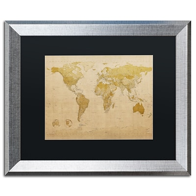 Trademark Fine Art Antique World Map by Michael Tompsett 16 x 20 Black Matted Silver Frame (MT0001-S1620BMF)
