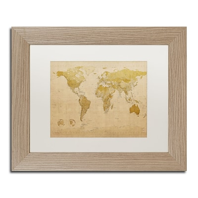 Trademark Fine Art Antique World Map by Michael Tompsett 11 x 14 White Matted Wood Frame (MT0001-T1114MF)